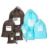 Amoyie Wasserdichte Packsäcke Set, 8-teilig 4 verschiedene Größen , Tunnelzug Beutel Organisatoren, Aufbewahrungsbeutel Flachbeutel Packtasche für Reisen Sport Outdoor Schule Schwimmen