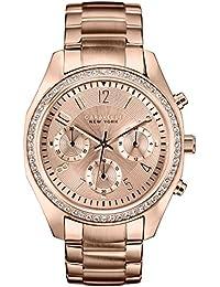 Caravelle New York 44L117 - Reloj analógico de cuarzo para mujeres, correa de acero inoxidable, color oro rosa