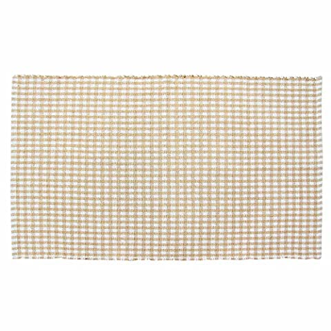 Homescapes 100% Cotton Gingham Check Rug Hand Woven Beige White 70 x 120 cm Washable at Home Kids Room or Large Bath Mat