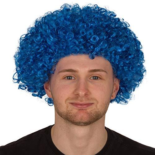 Redstar Fancy Dress - Afro-Perücke für Erwachsene - Locken - Party Clown Kostüm - Accessoire - Blau