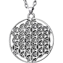 Lovelegis Collar de Mujer y Hombre - Flor de la Vida - Mandala - niño - niña - Geometría Sagrada - Idea Regalo - Navidad - Cumpleaños - Bisutería - Joyas - Color Plata