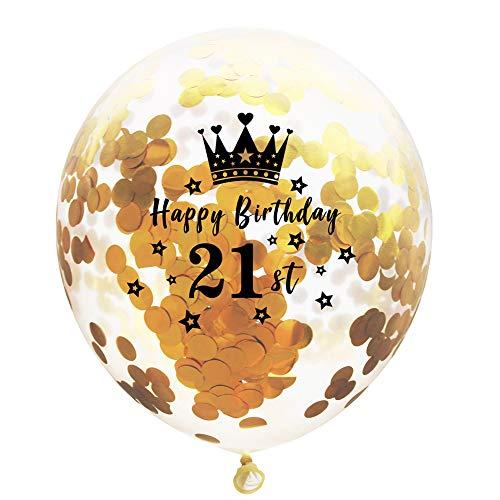 Birthday' Transparent Helium Ballon mit Stern und Krone Gold Konfetti Luftballon Latex für Geburtstags Party oder Hochzeitstag mit Zahlen 12 Zoll (21st) ()
