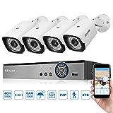 PRIKIM Vidéo Système de Caméra de Sécurité 8CH 1080N WiFi 5-IN-1 DVR (TVI/CVI/AHD/Analog/ONVIF) 4 x 1080P 3000TVL IR Caméras IP Imperméable IP66 P2P CCTV Kits Surveillance pour Bureau et Domicile A4C