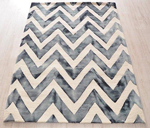 Wollteppich Zickzack elfenbein/blaugrau Size 140 x 200 cm