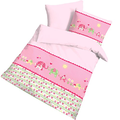 """ELEFANT Fein Biber Babybettwäsche Kinderbettwäsche Mädchen """" HAPPY ELEFANT """" Elefanten Tiere , Herzen & Blumen Rosa, Pink - Kissenbezug 40x60 + Bettbezug 100x135 cm"""