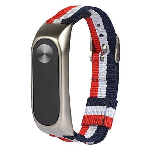 Sport Uhrenarmbänder, DingLong Leichtes Nylon verstellbares Ersatzband Armband für XIAOMI Mi Band 2 (Silber) - Verstellbar Band
