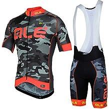 Jerseys de ciclismo - Jersey de bicicleta de manga corta transpirable con 3D Gel Pad Pantalones cortos de babero para equipo de bicicleta profesional , 001 , L