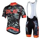 Maglia da ciclismo - Maglia da bici a manica corta traspirante con pantaloncini in gel con imbottitura 3D in gel per abbigliamento da bici Pro Team , 001 , XXL