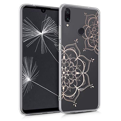 kwmobile Funda para Xiaomi Redmi Note 7 / Note 7 Pro - Carcasa Protectora de TPU con diseño de Flor Pintada en Oro Rosa/Transparente