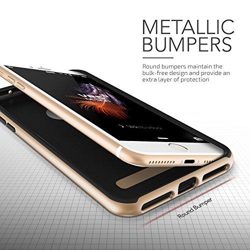 iPhone 7 Plus Hülle, VRS Design [High Pro Shield Serie] Gebürstet Militärischer Schutz mit Klappständer für Apple iPhone 7 Plus 2016 - Rose Gold Gold