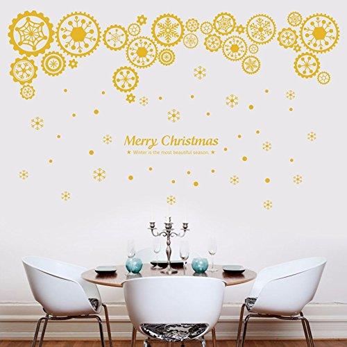 KUYIYILO Tag des Neuen Jahres Weihnachten Wandaufklebern Großen Läden Shop Glas Fenster Aufkleber Schneeflocke Gang Dress up Dress, Groß