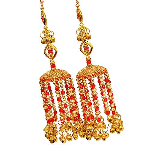 Mansiyaorange Fabric AAA AD Stone Traditional Punabi Red Kalire for Women (7 inch Long)