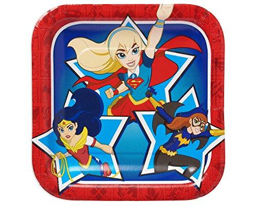 Amscan International 541609DC Super-Helden-Mädchen, Quadratische Papier-Teller, 18cm