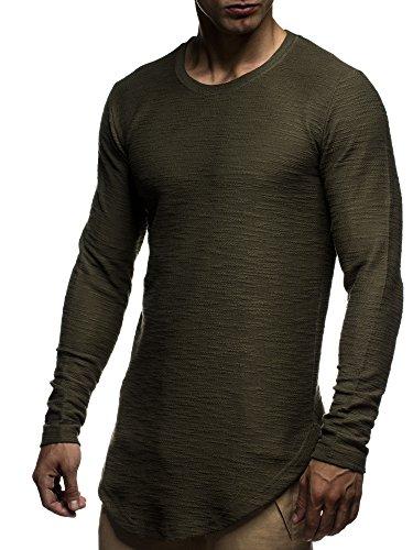 LEIF NELSON Herren Pullover Hoodie Sweatjacke Longsleeve Sweatshirt Jacke Basic Rundhals Langarm oversize Shirt Hoody Sweater LN6298 Khaki