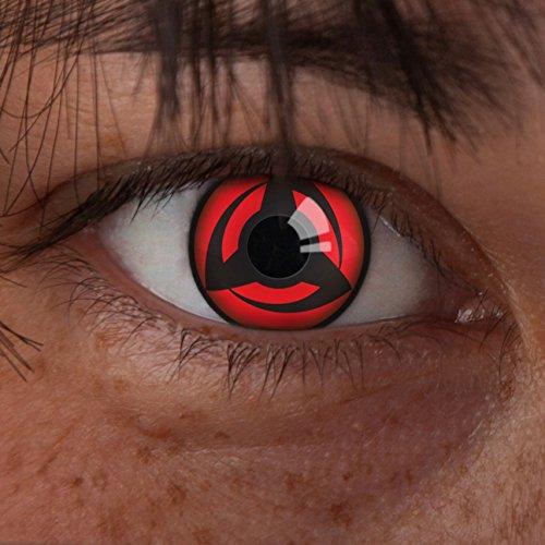 aricona Farblinsen – Kakashi´s Mangekyou Sharingan Kontaktlinsen ohne Stärke, deckend rote, schwarze 12 Monatslinsen, bunte, farbige Augenlinsen für Naruto Cosplay