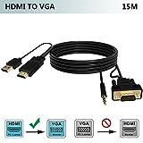 HDMI zu VGA Kabel mit Audio 15M, FOINNEX HDMI zu VGA Konverter Adapter Kabel für Anschluss PC, Laptop, DVD, Xbox 360 ONE, PS4/PS3, TV-Box zu TV, Monitor, Projektor mit 15-pin VGA
