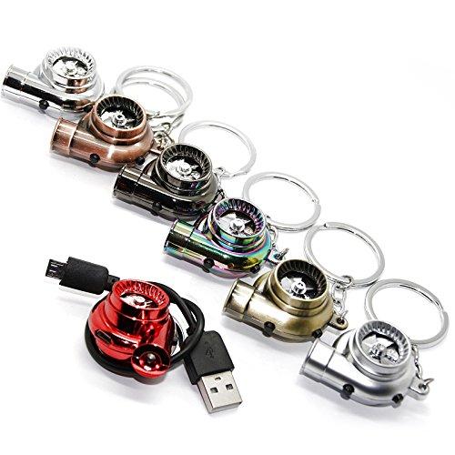 Preisvergleich Produktbild LED-Mafia® USB Elektro Turbo Schlüsselanhänger - Mit Sound & Licht Turbolader Keychain Chrom Metall Anhänger Schlüssel (Messing-Optik)