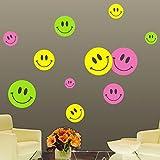 Ambiance-Live Wandtattoo Smileys von 3 Farben - 20 x 20 cm
