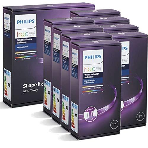 Philips Hue LightStrip+ 10 Meter Set (1 x 2m + 8 x 1m), flexibel, dimmbar, bis zu 16 Millionen Farben, per Hue-Bridge (nicht inkl.) steuerbar via App, Smartphone, Tablet & Sprache, LED-Streifen