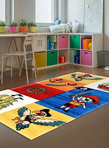 Alfombra pirata barco Kids alfombra niños diseño moderno, multicolor, 80 x 150 cm