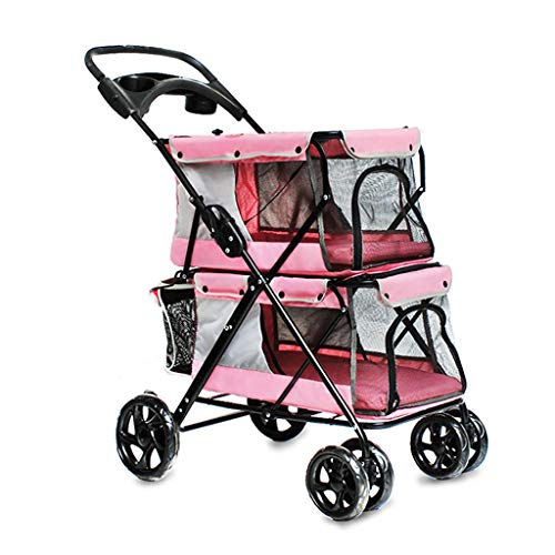 GZQDX Rosa Pet Stroller, 4-Rad-Doppel Pet Kinderwagen for Hunde und Katzen, groß for Twin oder Multiple Pet Travel