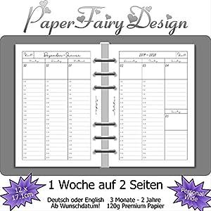 Kalendereinlagen 2020 - Personal Wide (12cm x 17,1cm) - 1 Woche auf 2 Seiten - 120g Premium Papier