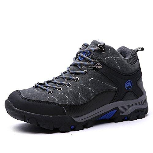 Chaussure randonné Outdoors haut chaude suédé homme femme adulte mixte sneakers hiver Gris
