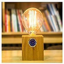 Lamparita Mesilla Madera Creativa Retro Mesa Lámpara Dimmer Botón Enciende La Lámpara De Sobremesa De Reloj De Escritorio , B