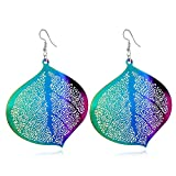 Souarts Womens Female Character Hollow Ear Ornaments Colorful Green Earrings Jewelry 1pair