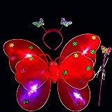 LED mariposa alas, 3pcs luz intermitente hada mariposa ala varita diadema disfraz juguete, perfecto para niños niñas en jardín de infancia, cumpleaños, Hallowmas Fiesta Disfraz, Rojo, Tamaño libre