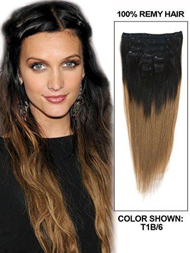 50,8 cm 9 pièces Noir/marron lisse Ombre Clip dans Extension de cheveux humains indiens Remy Poids 110 g