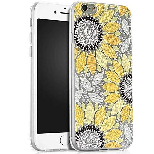 Kompatibel mit iPhone 6S Plus Hülle,iPhone 6 Plus Hülle,Prägung Malerei Sunflower Sonnenblume TPU Silikon Hülle Handyhülle Tasche Durchsichtig Schutzhülle für iPhone 6S Plus/6 Plus,Gelbe Sonnenblume