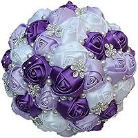 Fouriding Ramo de Boda Ramo de Novia Cintas de Flores de Perlas de Diamantes de Imitación Para Dama de Honor de la Novia