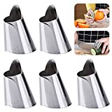 LOAZRE Anti-Cutting Adjustable Finger Protector Stainless Steel Kitchen Tool, 5 Pack