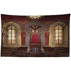 Abakuhaus Gótico Tapiz de Pared y Cubrecama Suave, Trono Rojo Medieval en Capilla Retrato de Águila Antiguo Edificio de Fantasía, No se Desliza de la Cama, 230x140 cm, Marrón