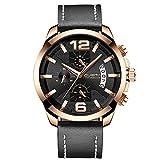 XLORDX Luxus Herren Uhren Quarz Datum Chronograph Wasserdicht Uhren Business Sport Design Schwarz Lederarmband Rosegold Armbanduhr