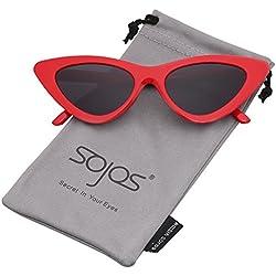c8ebee2740 SOJOS Gafas De Sol Mujer Ojo De Gato Moda Chic Super Cat Eye SJ2044 Marco  Rojo