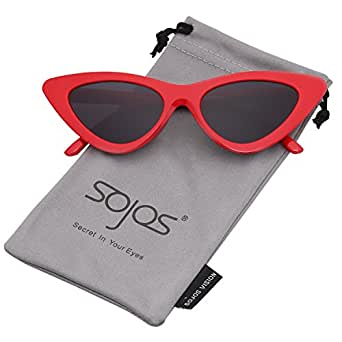SOJOS Occhiali di Protezione Occhiali da Sole da Donna Occhio di Gatto Retro Vintage Stile SJ2044 con Rosso Telaio/Grigio Lente
