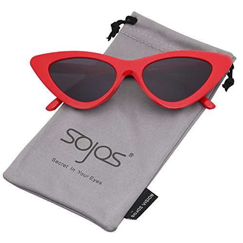 SOJOS Katzenauge Rahmen Mode UV-Schutz Damen Sonnebrille Cat Eye SJ2044 mit Rot Rahmen/Grau ()