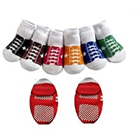 CUTE BABY BOYS GIRLS BASEBALL TRAINER STYLE ANTI SLIP SOCKS AGE 1 -2 12 18 24 MONTHS