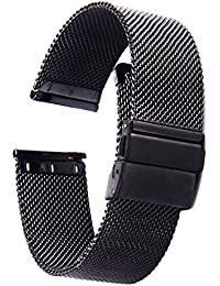 ZHUGE Unisex Mesh Stainless Steel Watch Strap Double Press Stud Buckle Milanese Metal Strap, 20mm