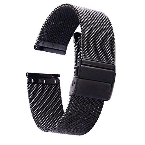 [ZHUGE] Edelstahl Mesh Uhrenarmband Neuer Stil Doppel-Druckknopf Schnalle Uhrenarmbänder Mailänder Uhrenband für Herren Damen 18mm 20mm 22mm