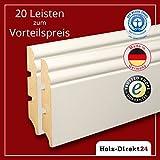 20 Stk/52 m weiße MDF Hamburger Profil Fussleisten 2600 x 19 x 96 mm - Vorteilspack 4,30€/m - 20% Rabatt