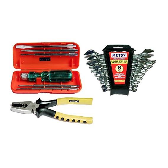 Ketsy K601 Hand Tool Kit 15 Pcs.(Screwdriver set of 6 Pcs.,Doe Spanner set of 8 pcs.,Combination plier 8 inch)