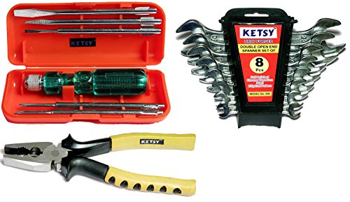 Ketsy K601 Hand Tool Kit 15 Pcs.(Screwdriver set of 6 Pcs.,Doe Spanner set of 8 pcs.,Combination plier 8 inch)  available at amazon for Rs.695