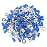 Pack of 100 Blue Ring Insulated Crimp Connector Electrical Wiring Terminals- 6.4mm Hole
