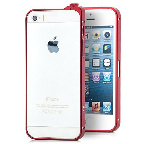 Saxonia Aluminium Bumper Apple iPhone SE / 5 / 5S Ultra Slim Alu Case Schutz Hülle Rahmen (Drehknopf-Verschluss) Gold Rot