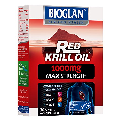 Bioglan Red Krill Oil Double Strength 1000mg, high in Omega-3 Fish Oil, EPA & DHA help to support your Heart, Eye and Brain health, one month supply – 30 capsules Test