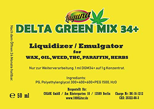 DELTA GREEN MIX 34+ DAB Base WAX Dope Liquidizer Verflüssiger THC Löser eLiquid für alle Öle, Fette, Paraffine, herbale Kräuter, CBD Ohne Nikotin. -