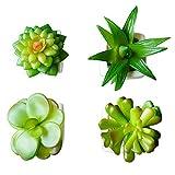 Whchiy Set von 4Mini Künstliche Pflanzen mit Keramik Pflanzgefäßen Stein für Home Office Décor